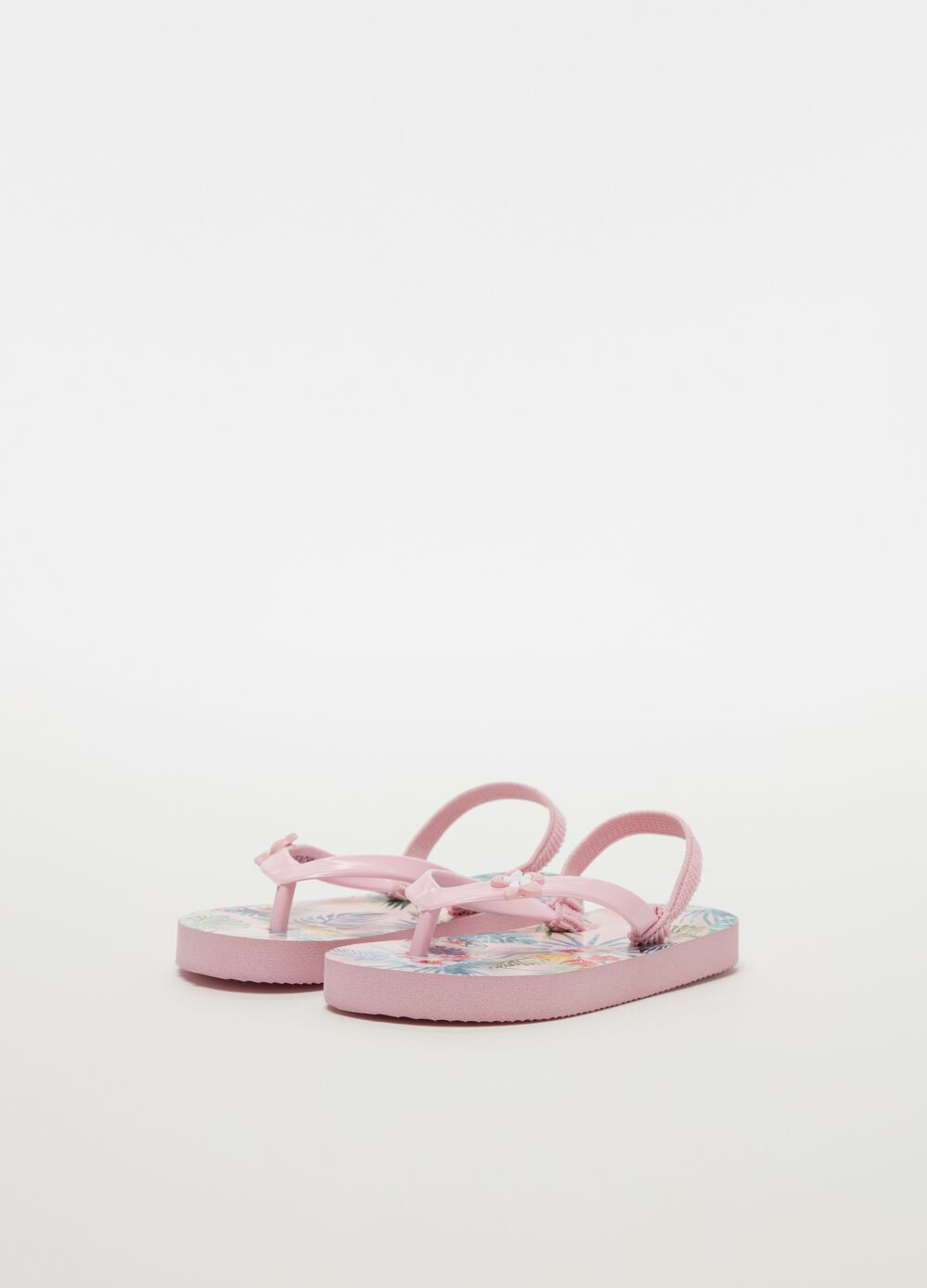 Thong sandals with flower and foliage pattern