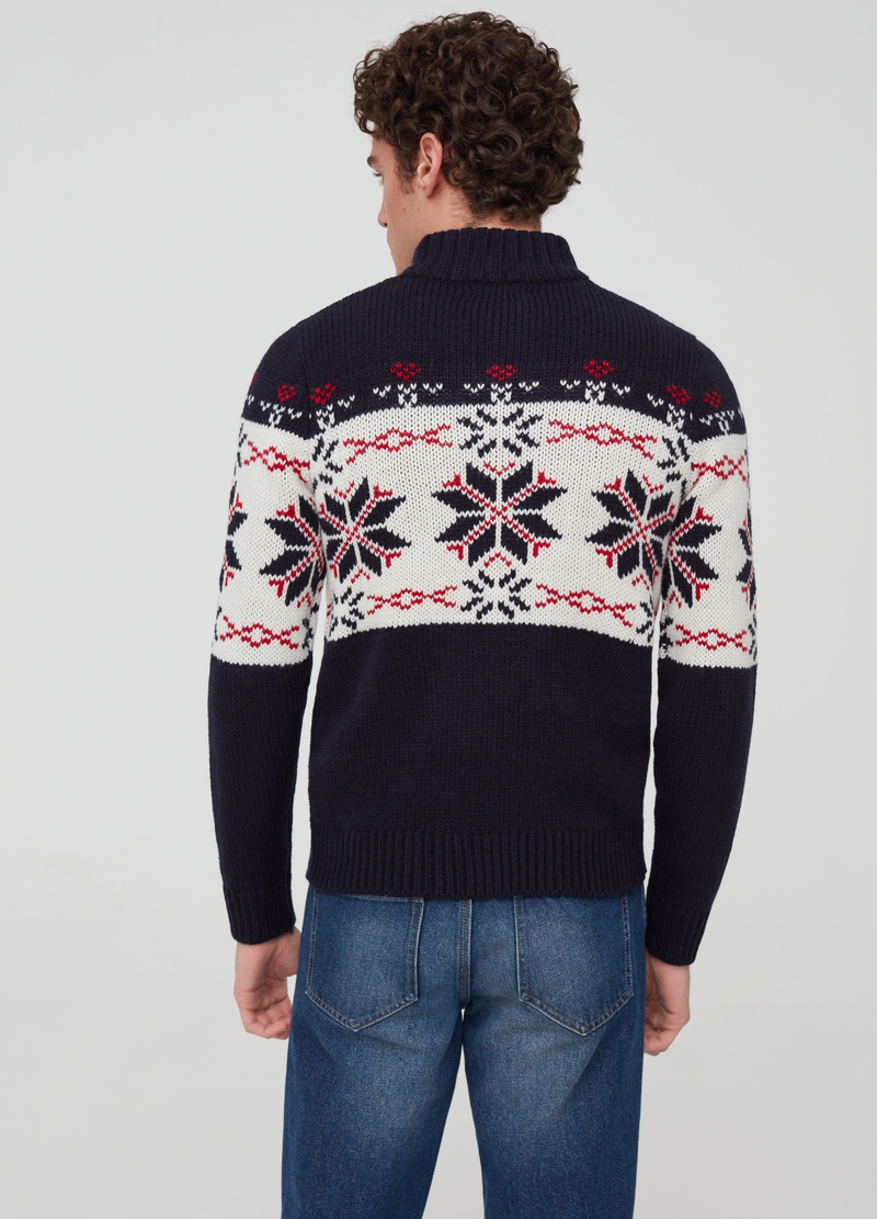 Jacquard pullover with buttons and high neck image number null