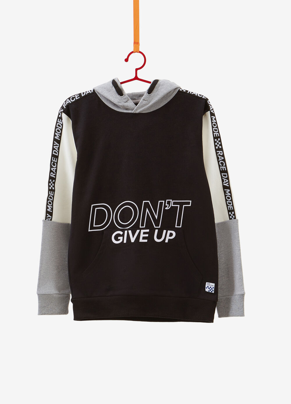 Cotton sweatshirt with inserts and printed lettering