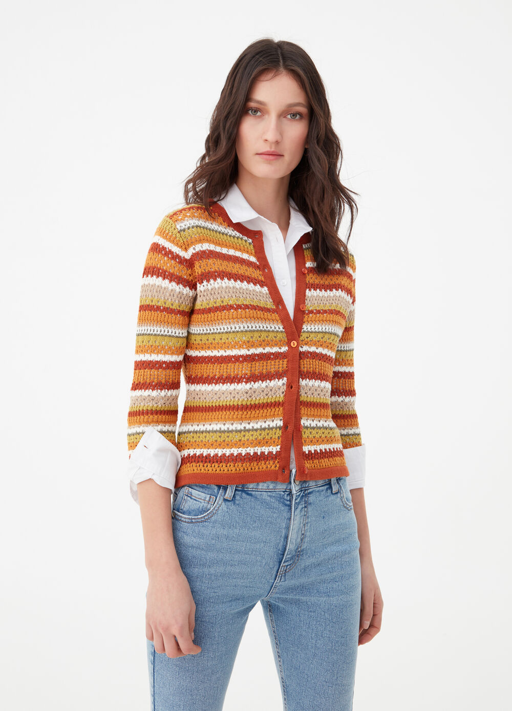 Striped cardigan in 100% cotton