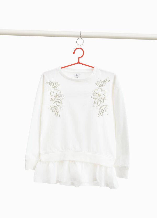 Cotton blend sweatshirt with floral embroidery