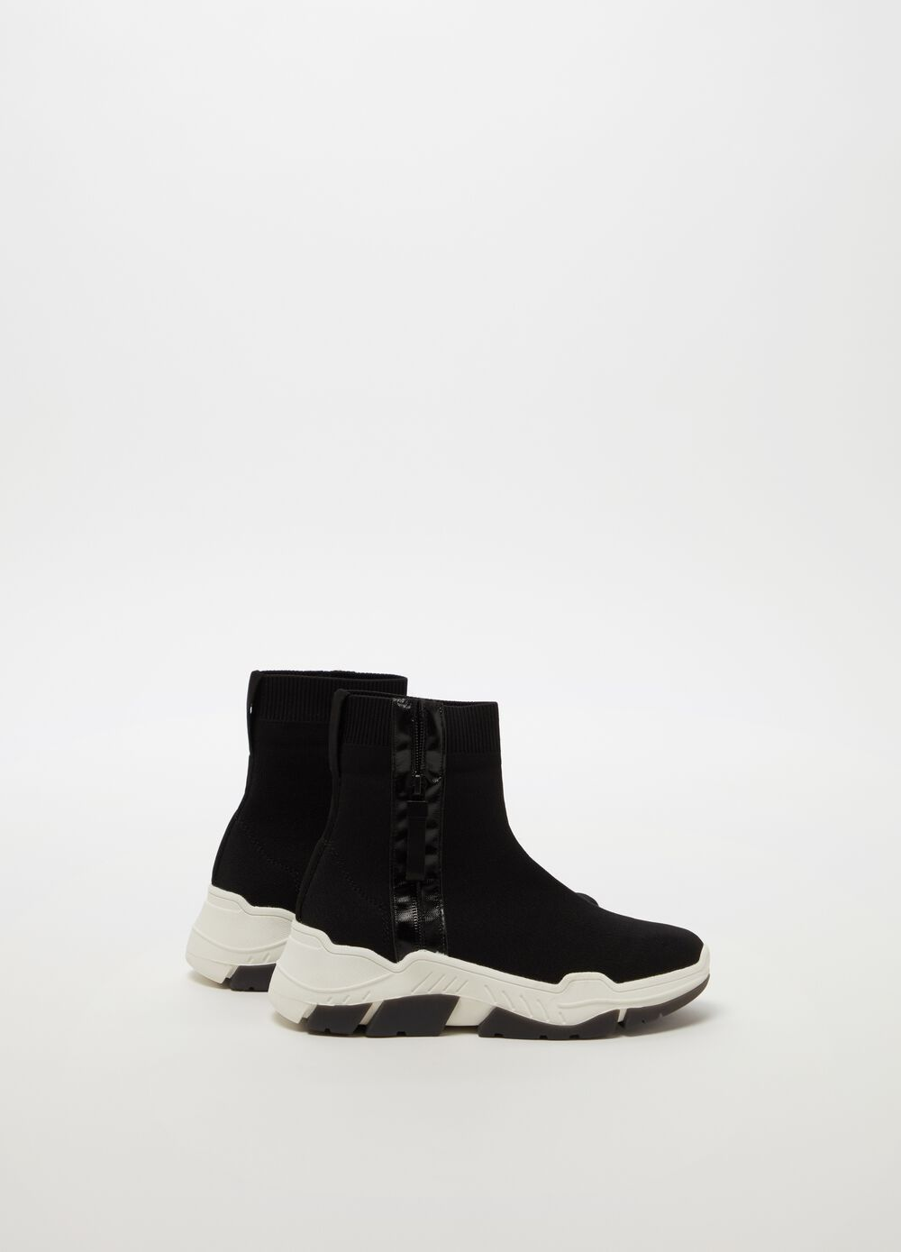High-top sock sneakers with thick sole and zip