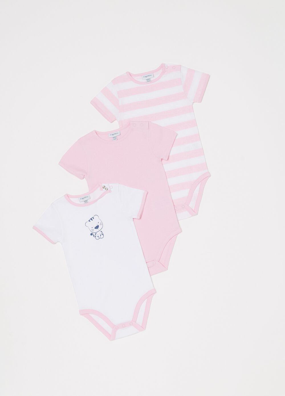 Three-pack bodysuits with pattern