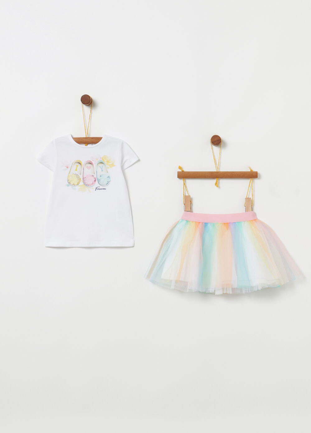 T-shirt and skirt set in biocotton tulle