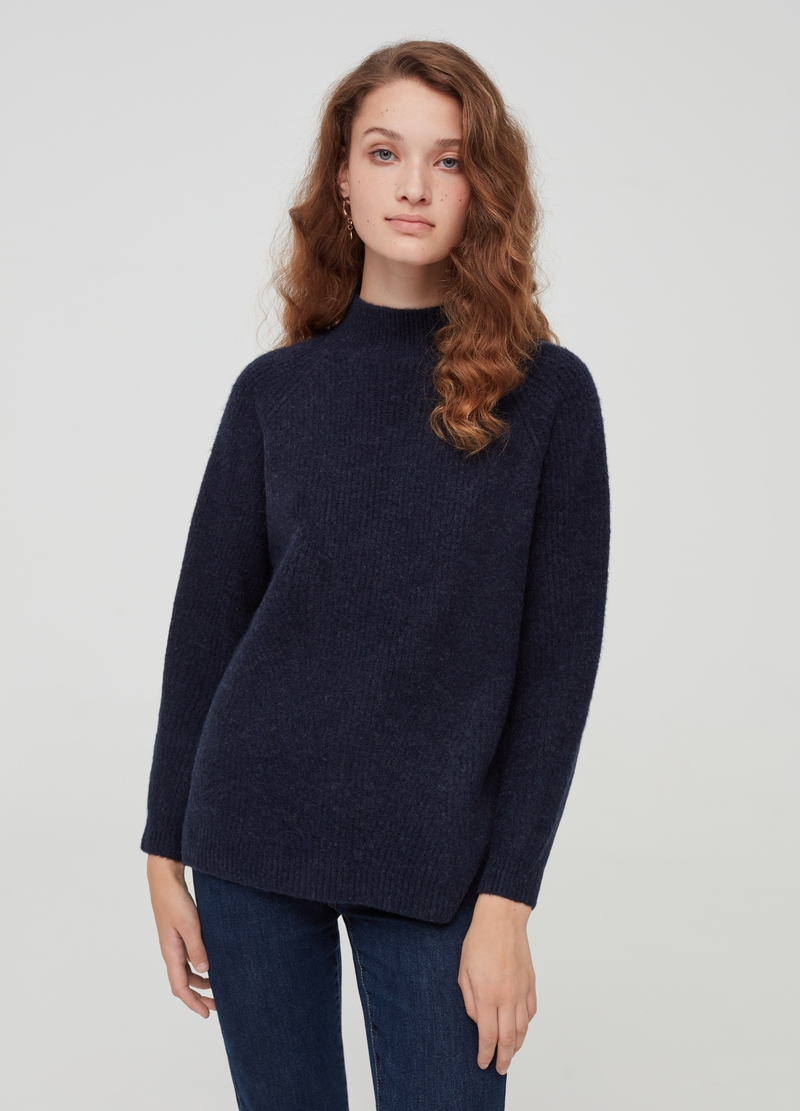 Mélange pullover with raglan sleeves image number null