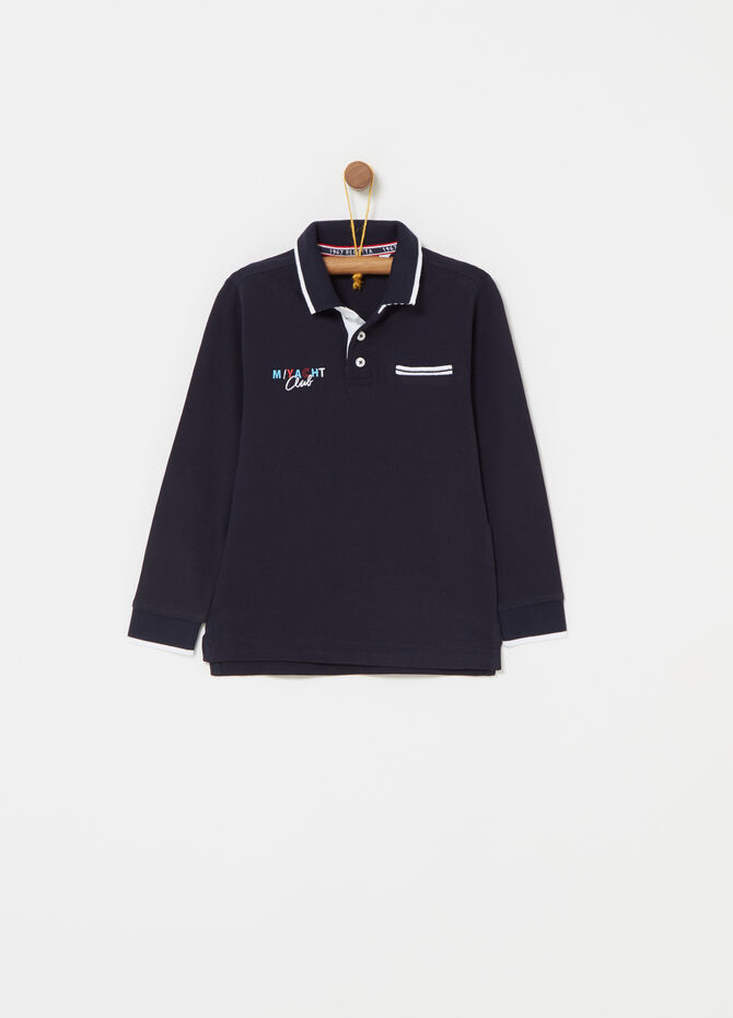 Long-sleeved polo shirt with embroidery and ribbing