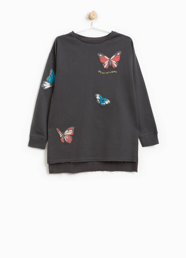 Cotton dress with butterfly patches | OVS
