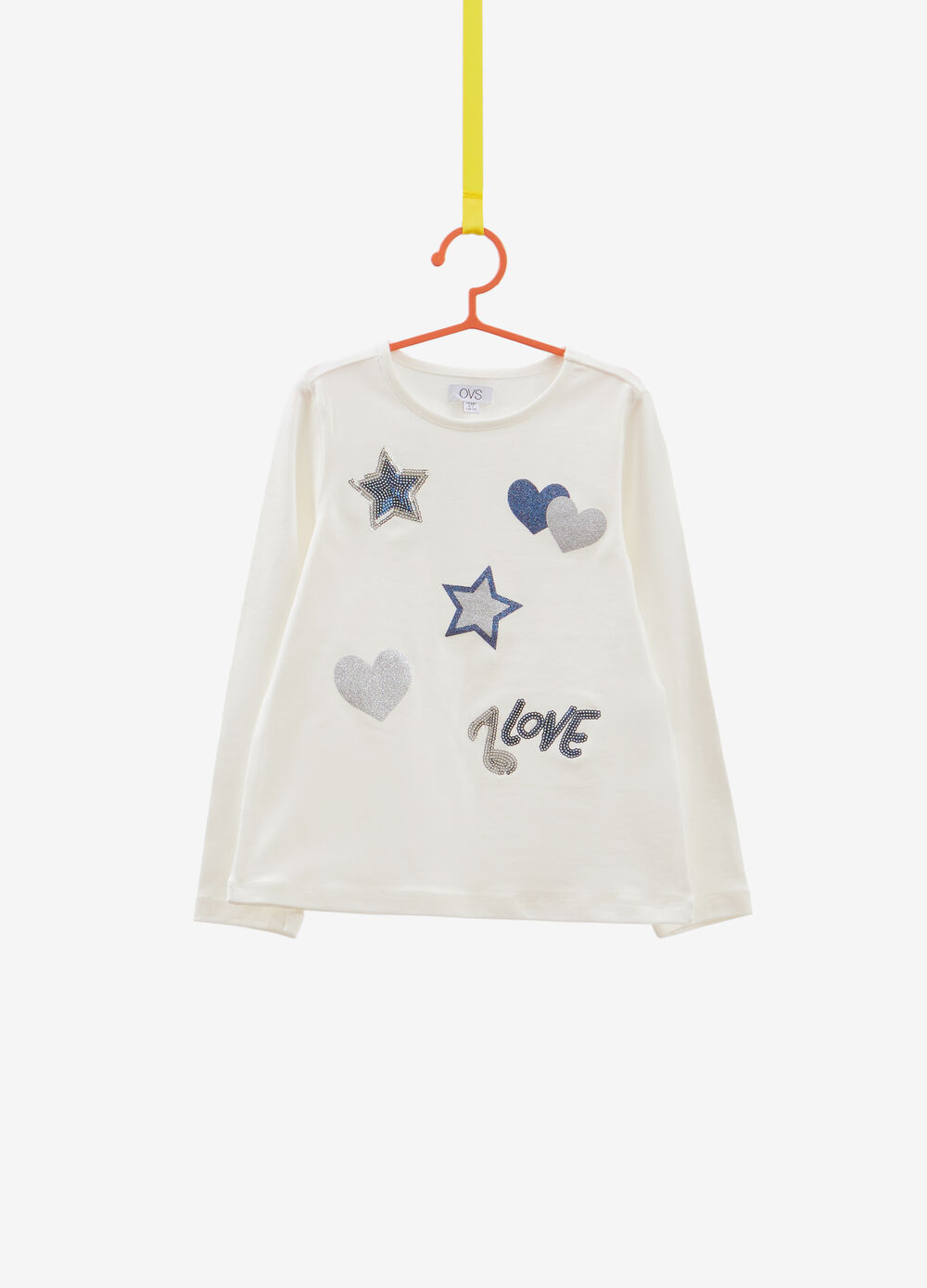 Stretch T-shirt with glitter hearts and sequins