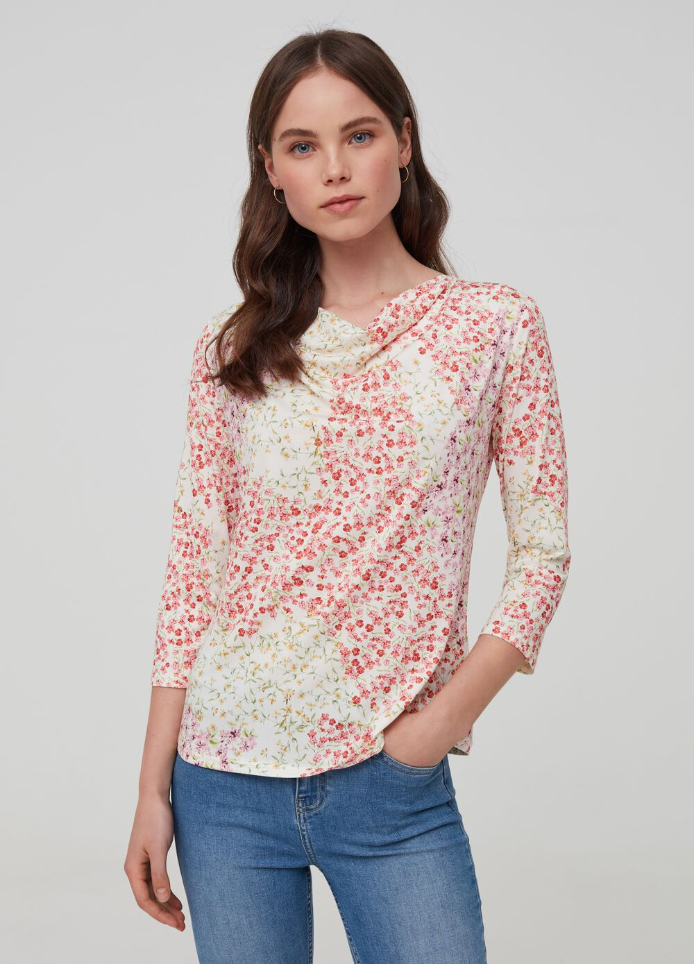 Floral stretch top
