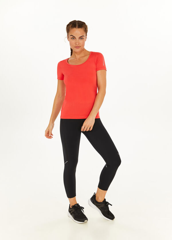 Printed stretch T-shirt with round neck