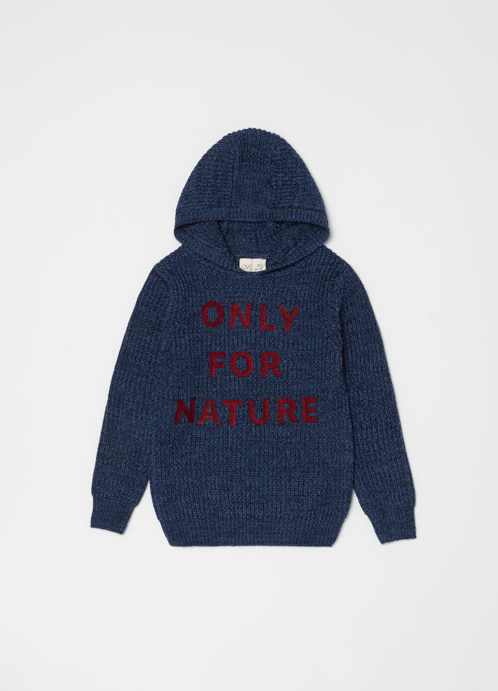 Knitted sweatshirt with embroidery and hood