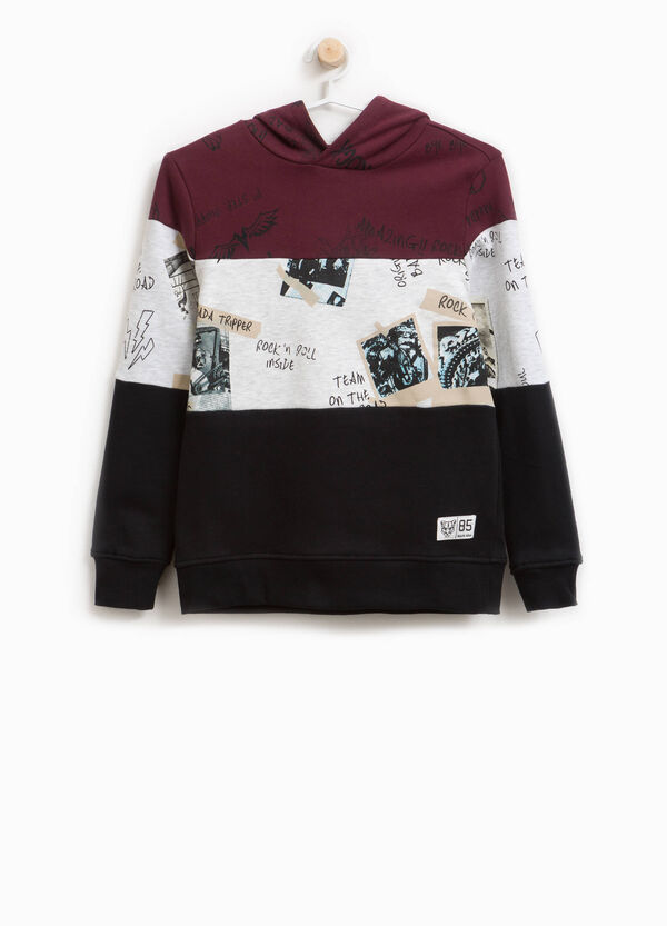 Cotton sweatshirt with striped pattern and lettering
