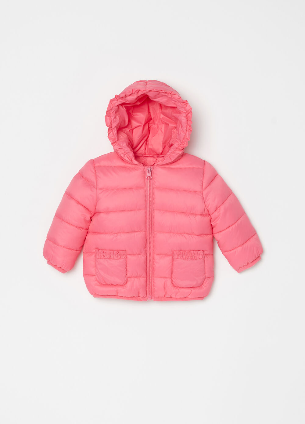 Padded and quilted jacket with flounce