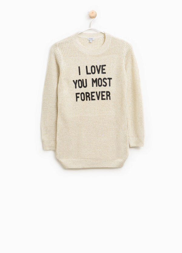 Lurex pullover with lettering print | OVS