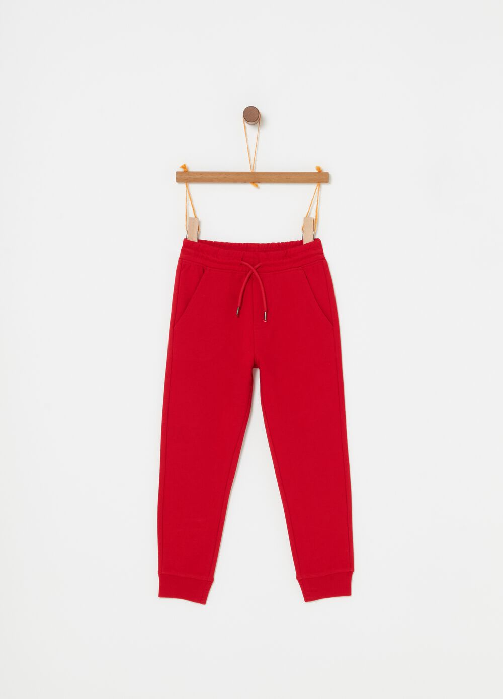 Trousers in organic French terry with pockets