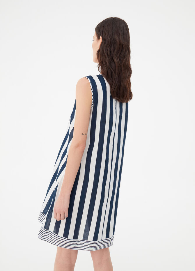 Long striped cotton sleeveless dress