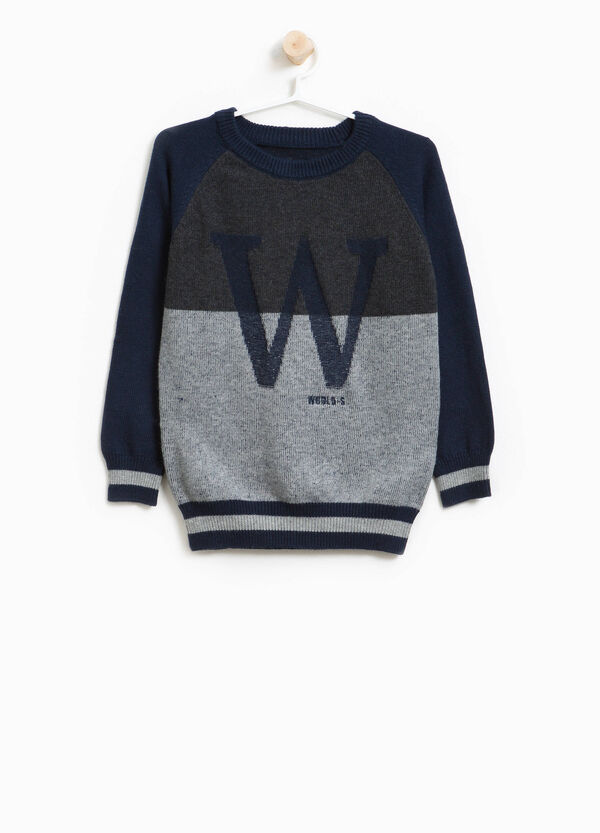 Knitted wool and cotton blend pullover with embroidery | OVS