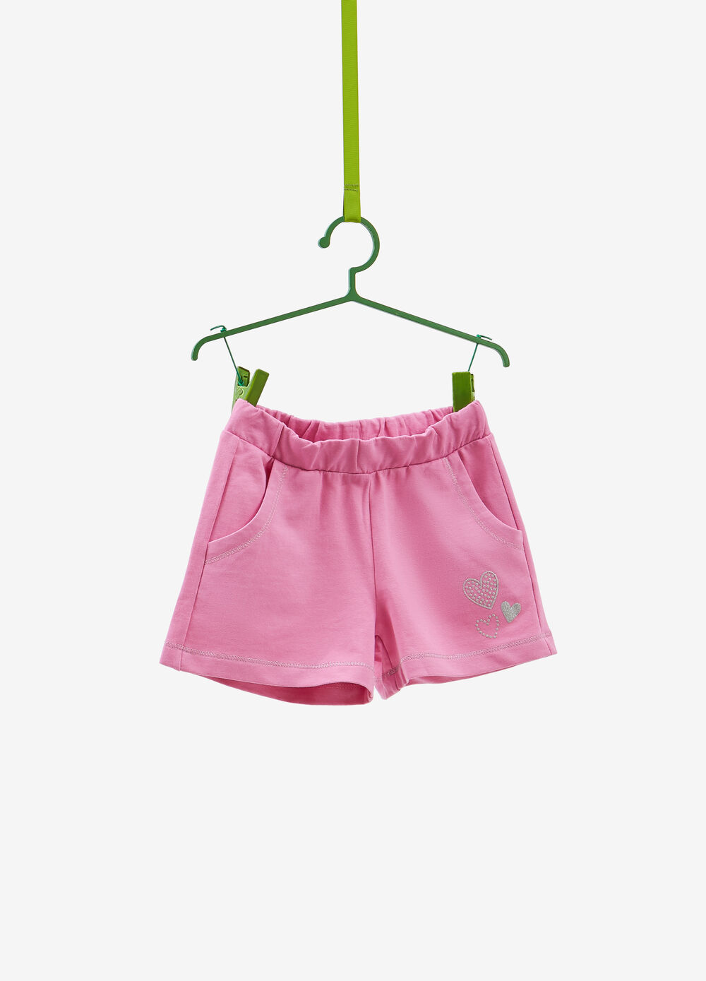 100% cotton shorts with glitter print