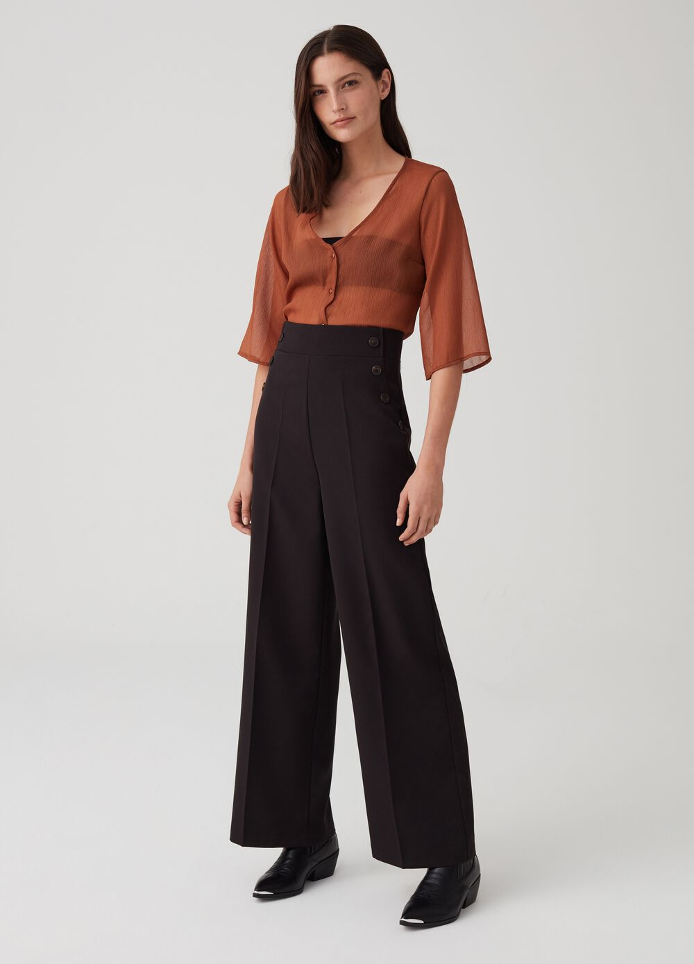 Stretch palazzo trousers with zip