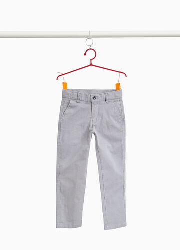 Cotton chino trousers with hounds' tooth pattern