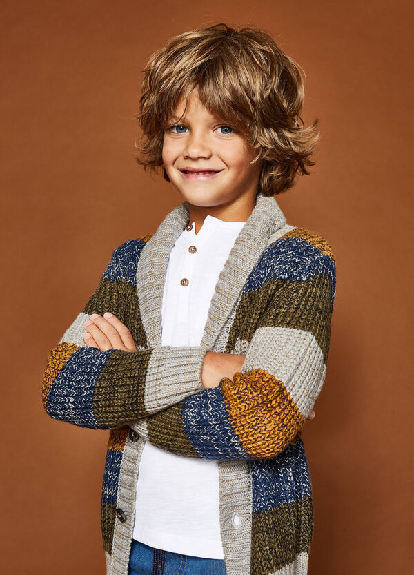 Cardigan tricot a righe con revers