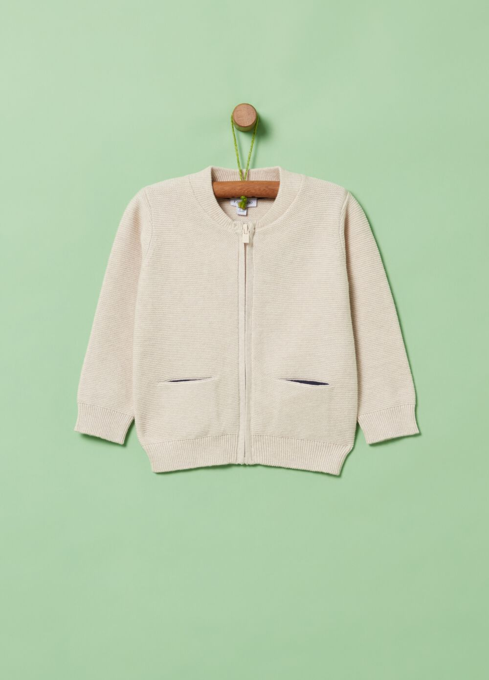 100% organic cotton cardigan with zip