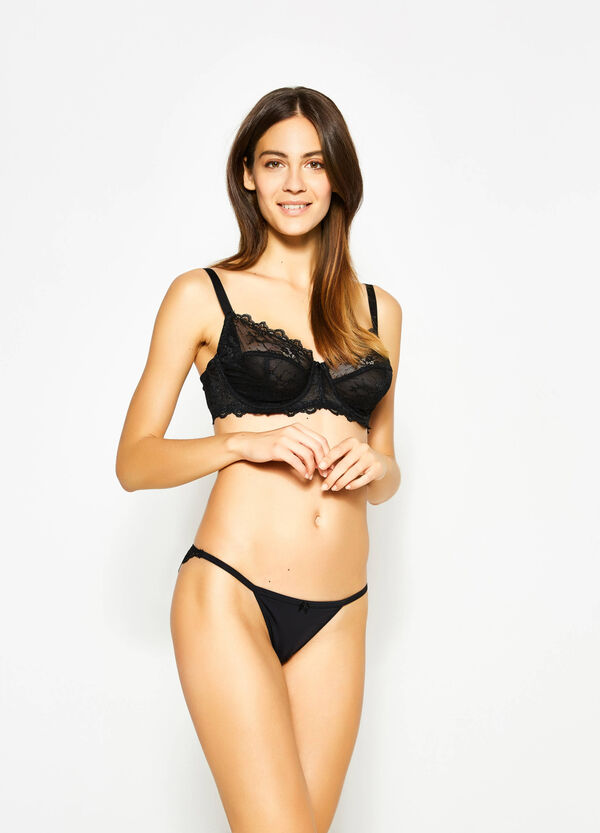 Tanga with lace back and bow | OVS