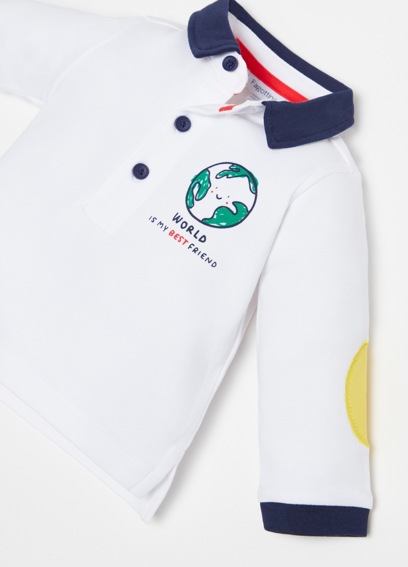 100% cotton polo shirt with patches image number null