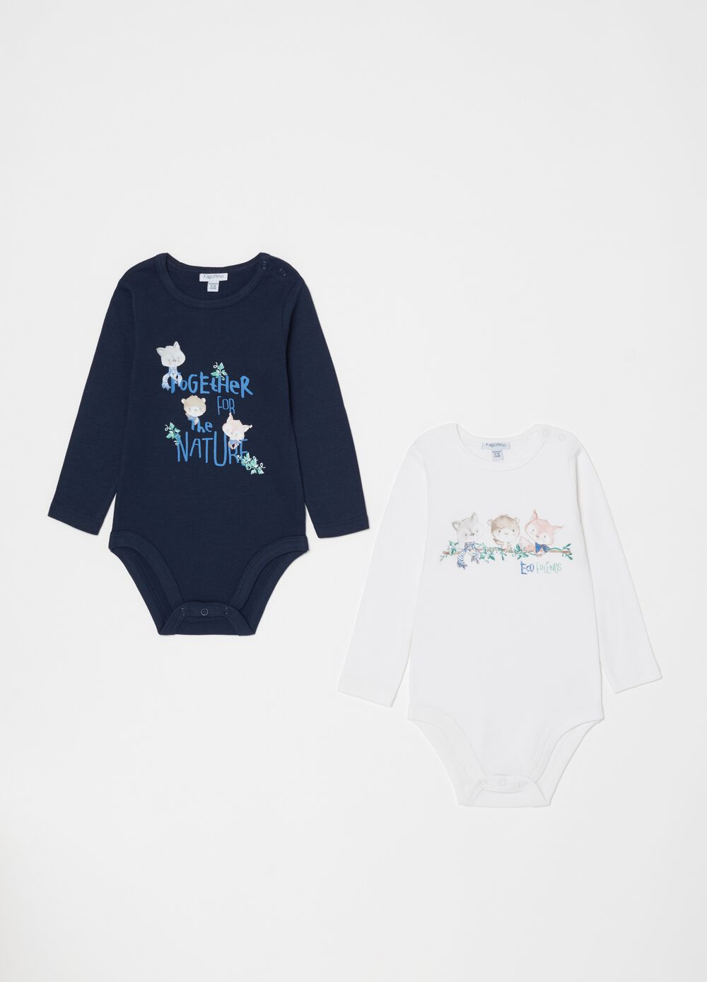 Two-pack solid colour bodysuits in 100% organic cotton