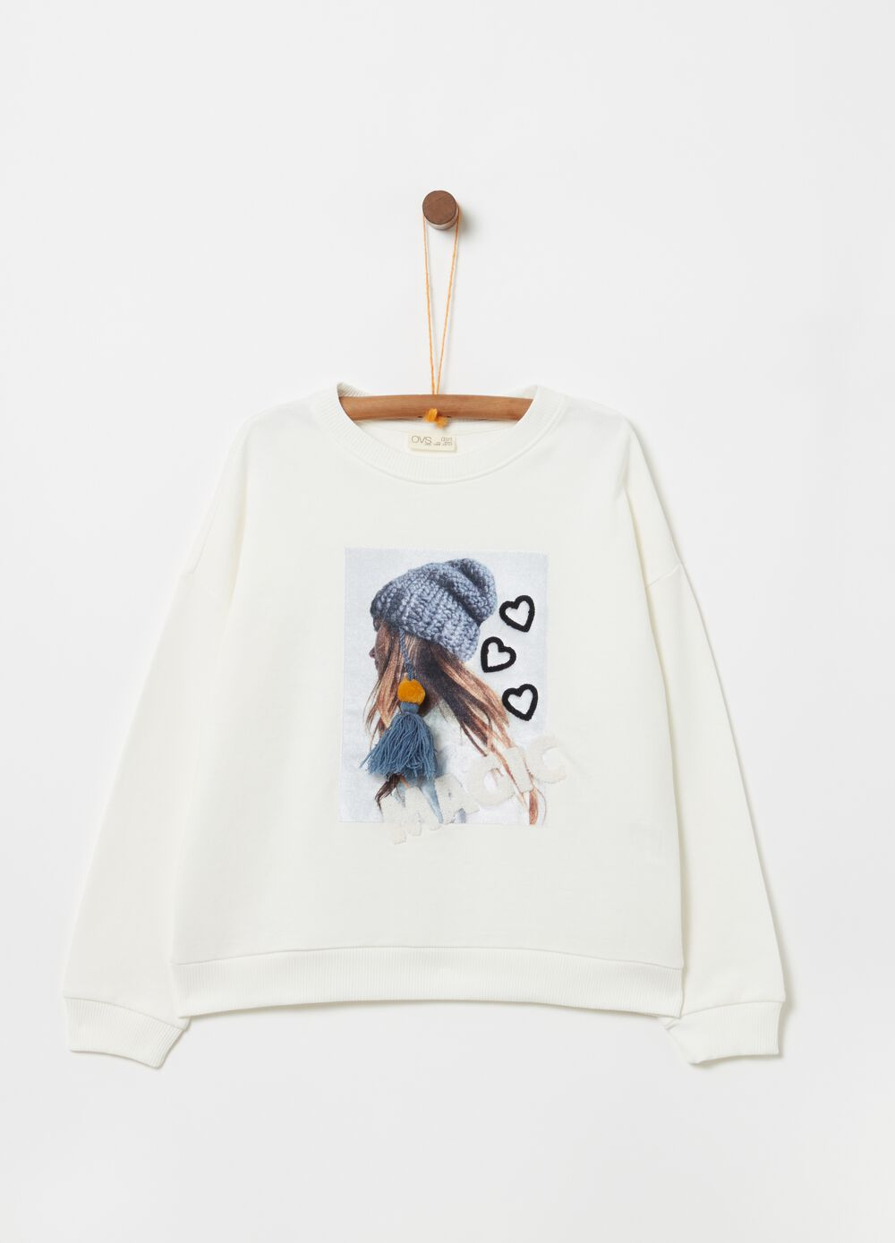 100% organic cotton sweatshirt with embroidery and print