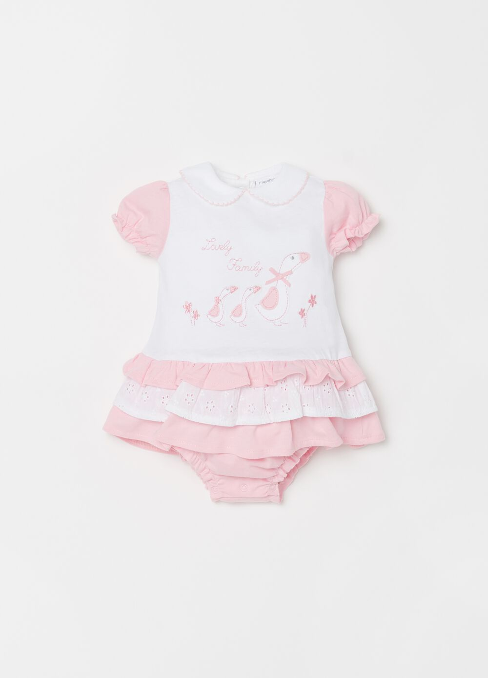 Romper suit with embroidery and flounced skirt