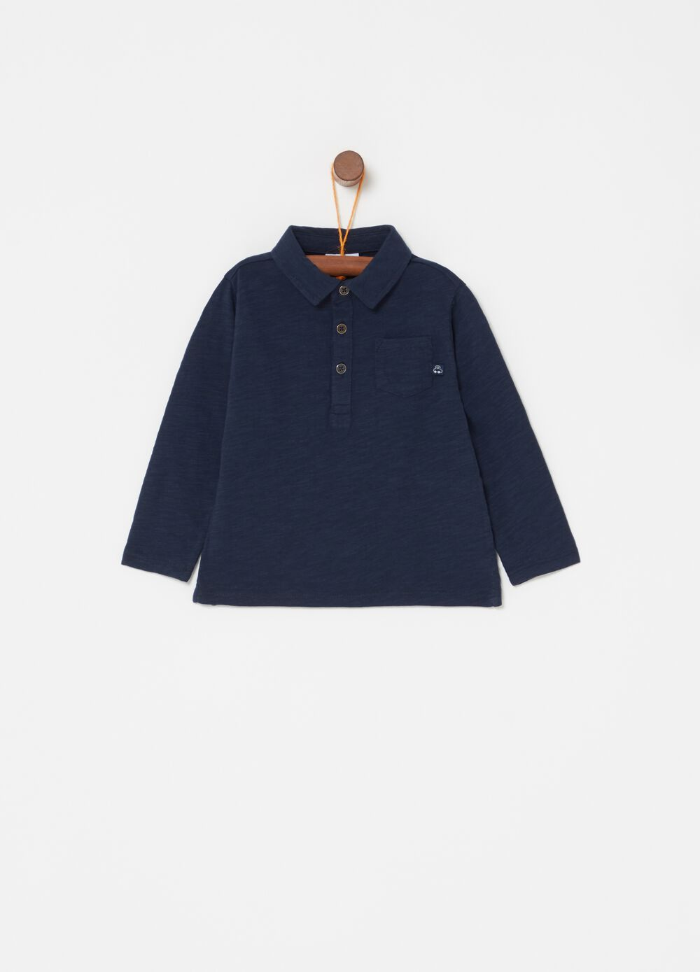 Iridescent jersey polo shirt with long sleeves