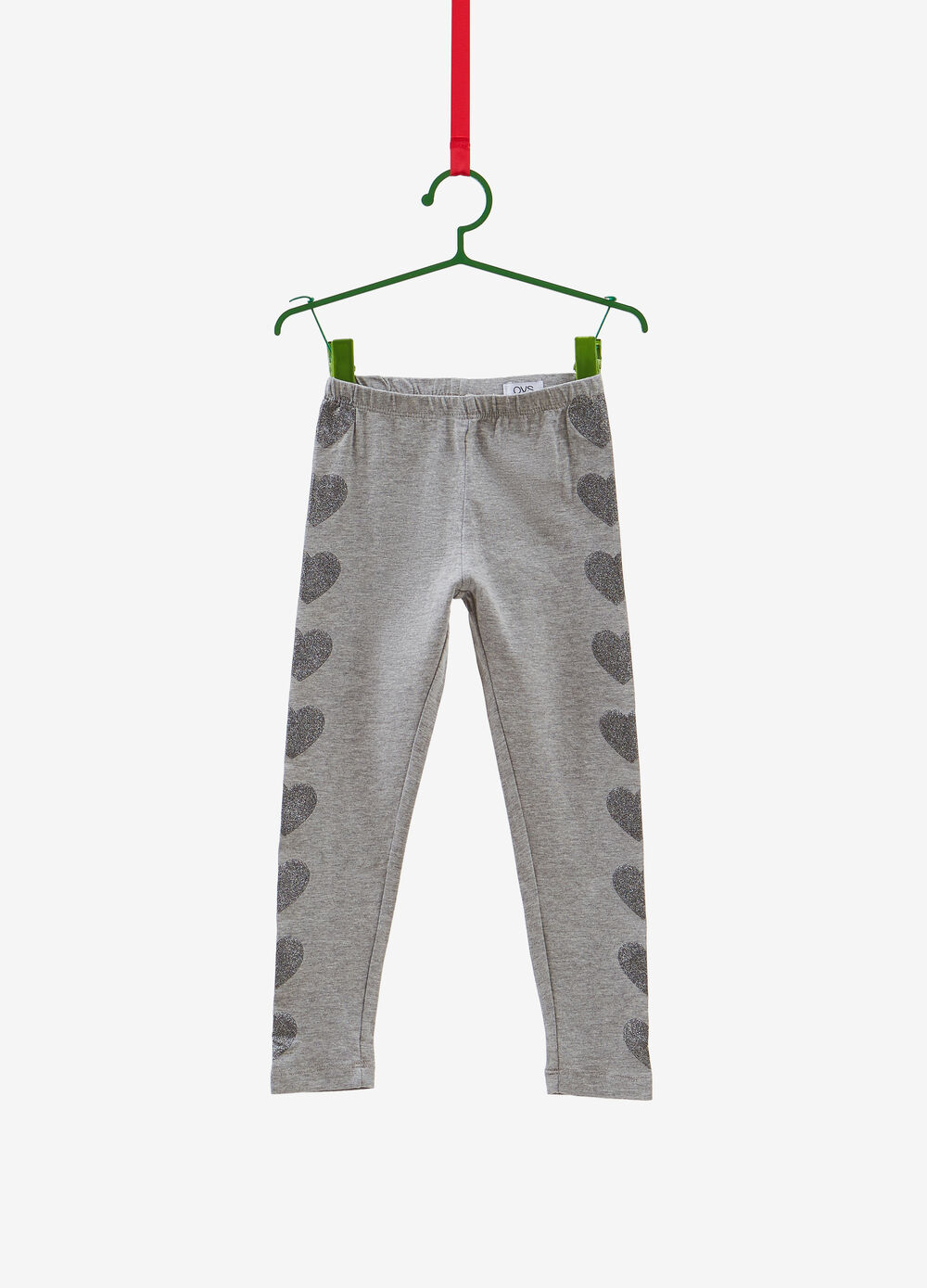 Stretch cotton and viscose leggings with heart print