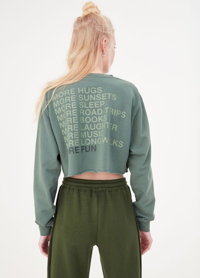 Crop sweatshirt with round neck and double print