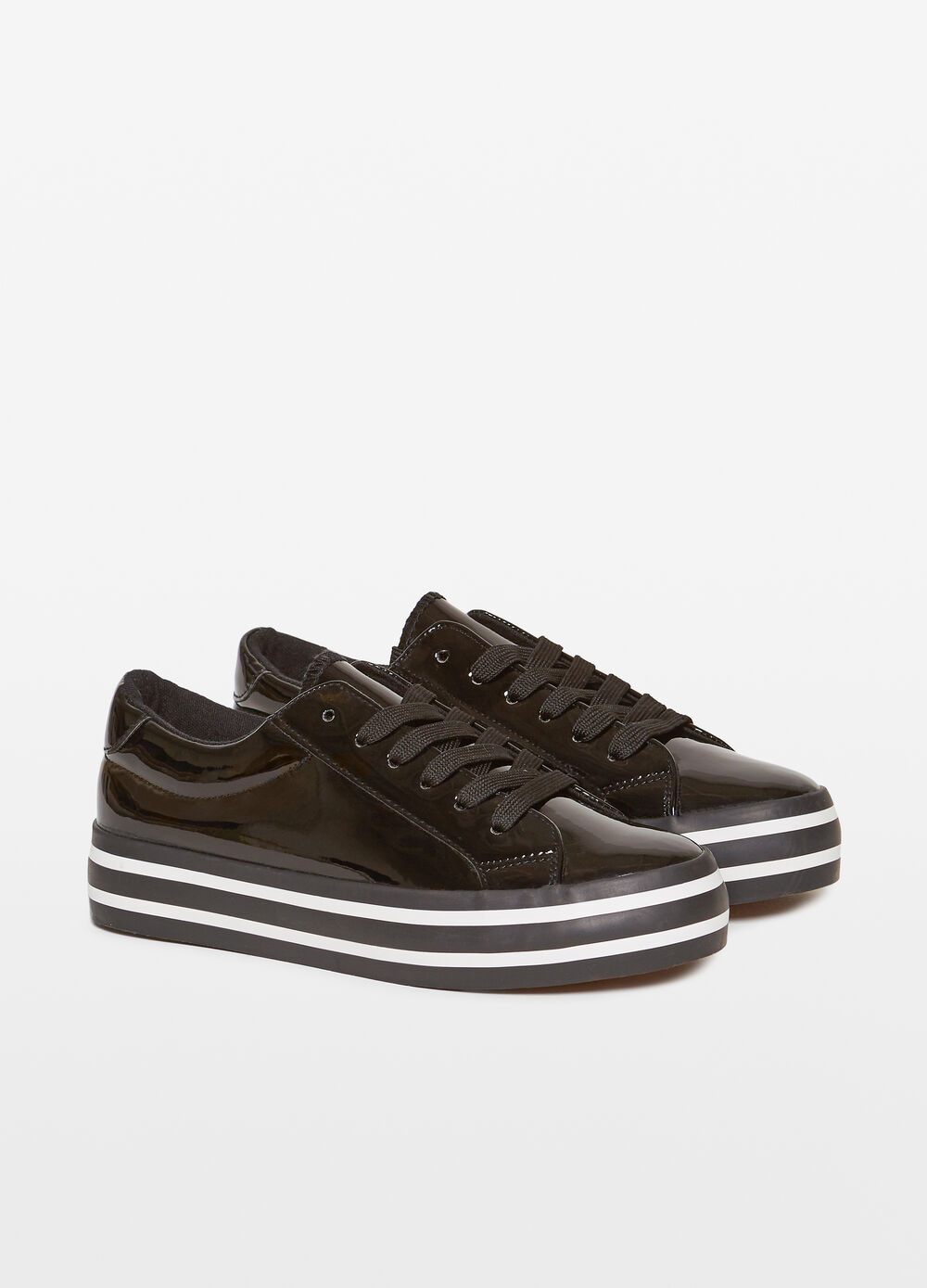 Shiny sneakers with platform sole