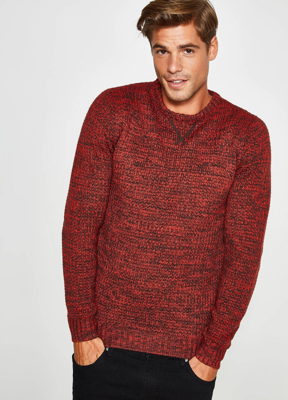 Two-tone pullover with raised weave