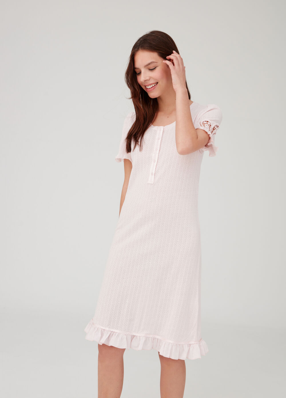 Nightshirt with crochet inserts and frills.
