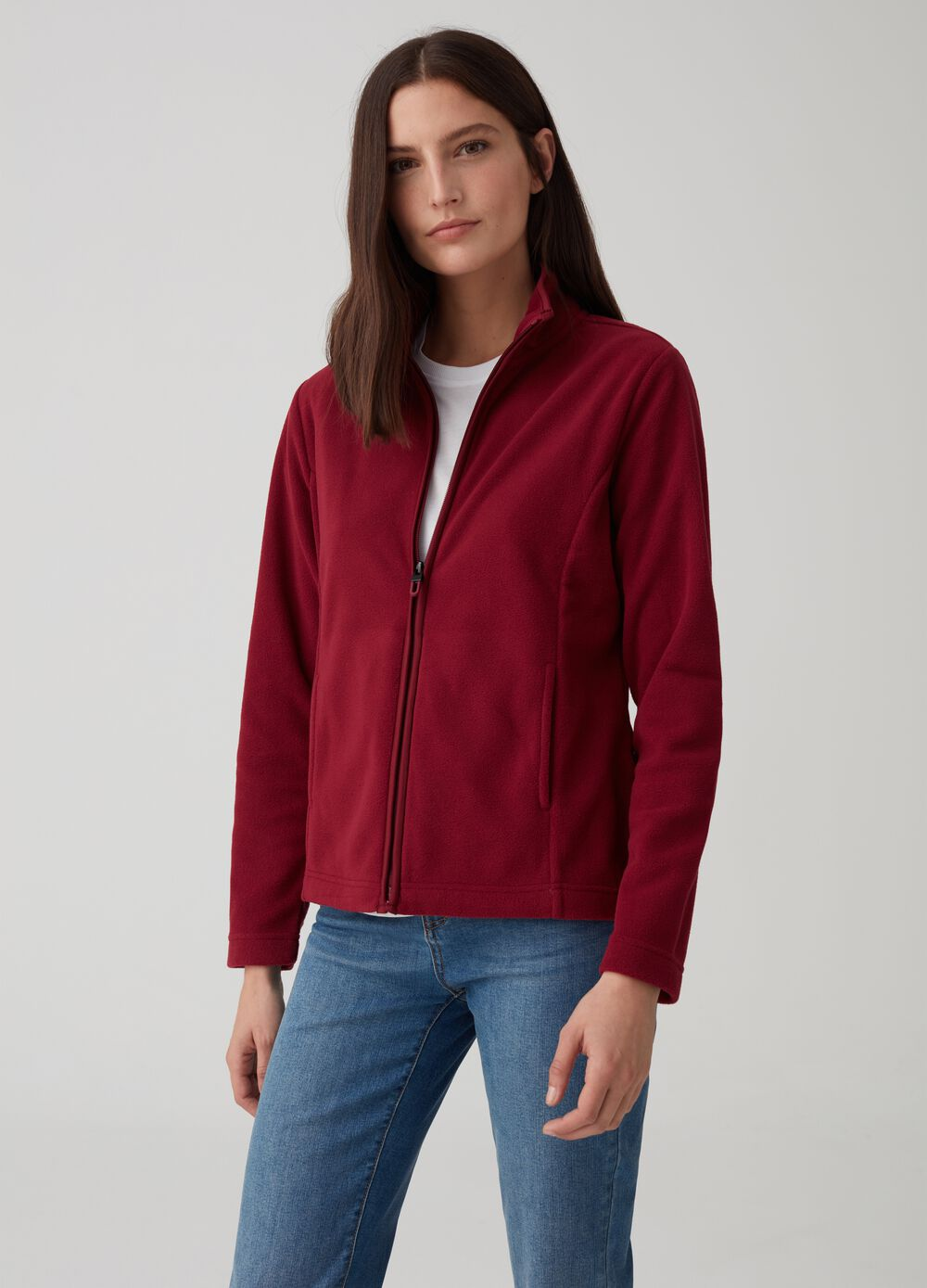 Sustainable fleece with high neck and full zip