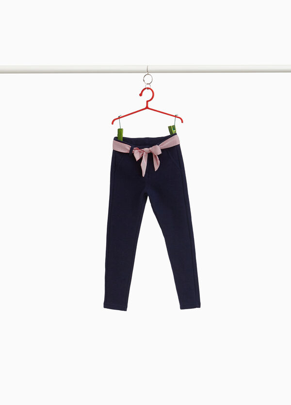 Stretch trousers with striped belt