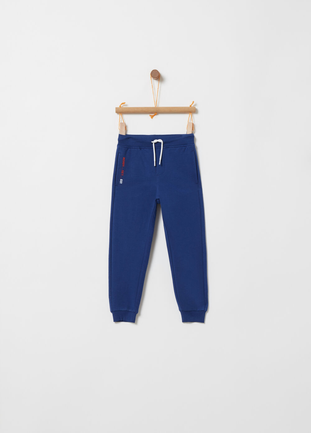 Trousers with functional pockets and print