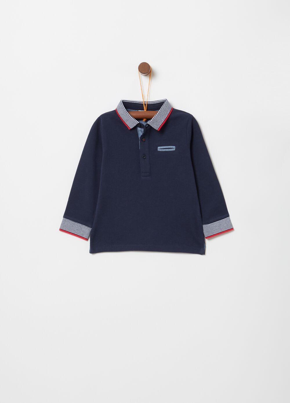 100% organic cotton polo shirt with long sleeves
