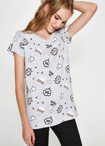 Patterned viscose and cotton comic book T-shirt