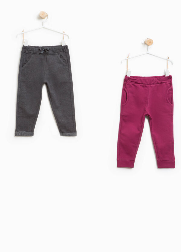 Two-pack solid colour trousers in 100% cotton | OVS