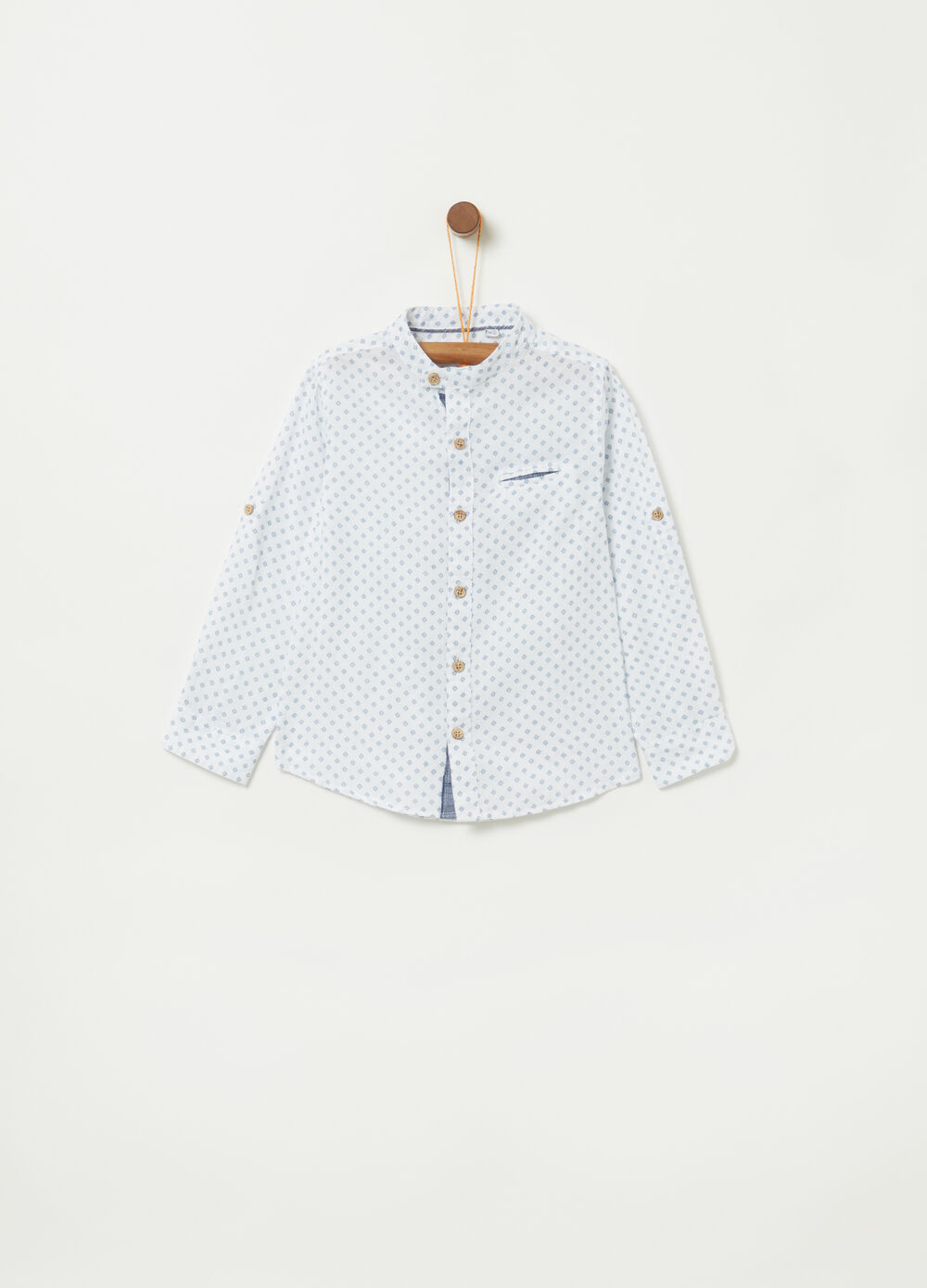 Shirt with pattern and Mandarin collar