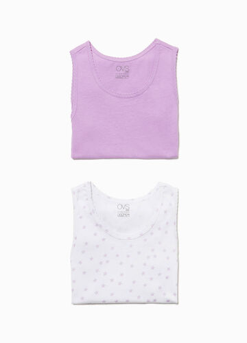 Set of two solid colour and star patterned under vests