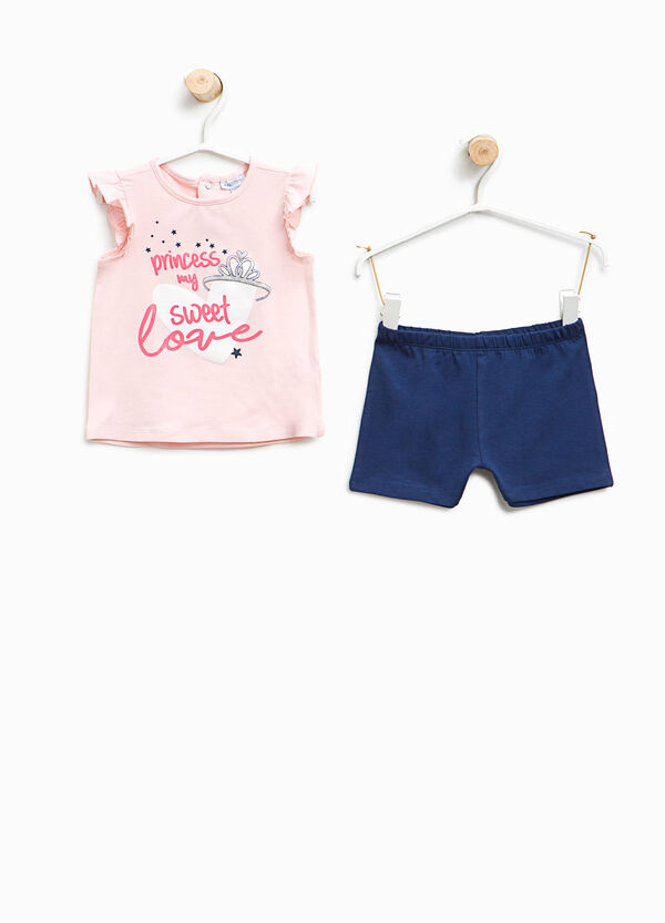 Stretch cotton top and shorts outfit | OVS