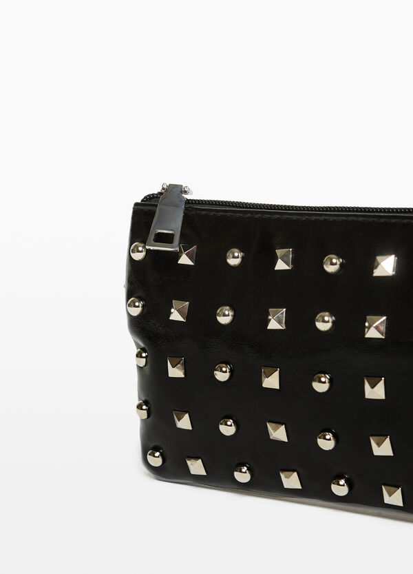 Belt bag with studs and zip