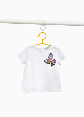 100% cotton T-shirt with ice cream patches and sequins