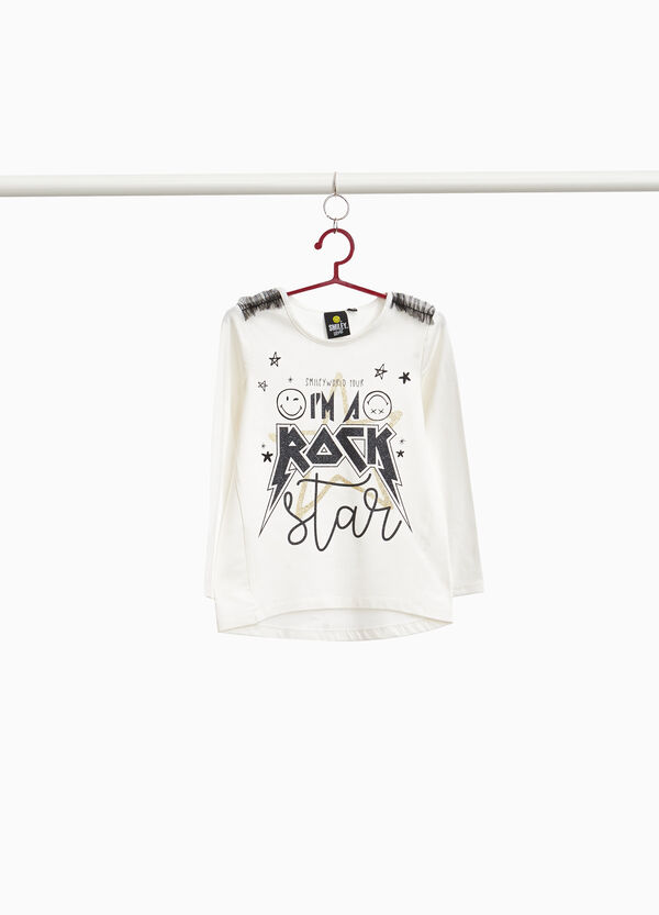 T-shirt with glitter print and tulle