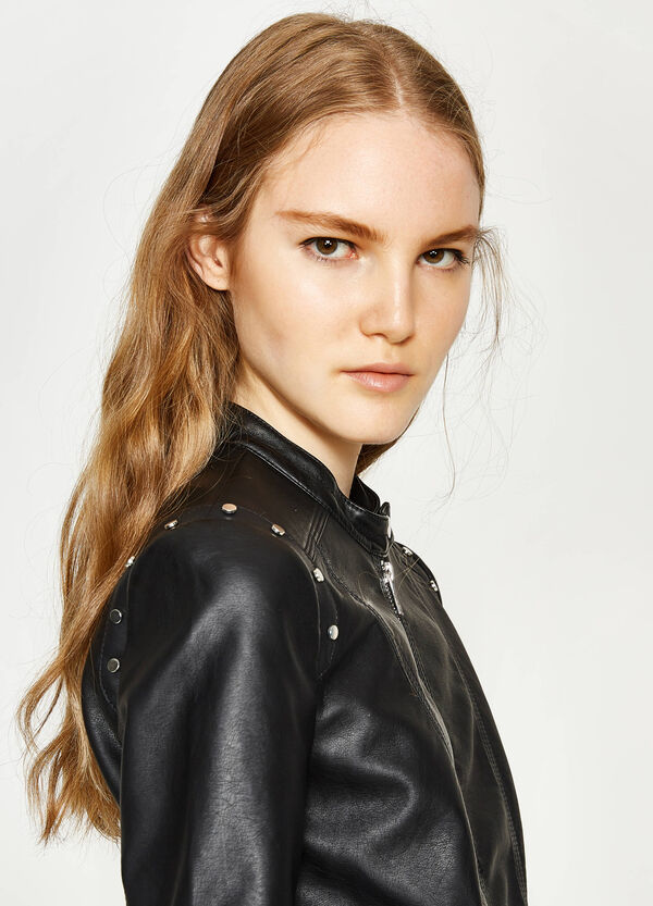 Leather look jacket with studs   OVS